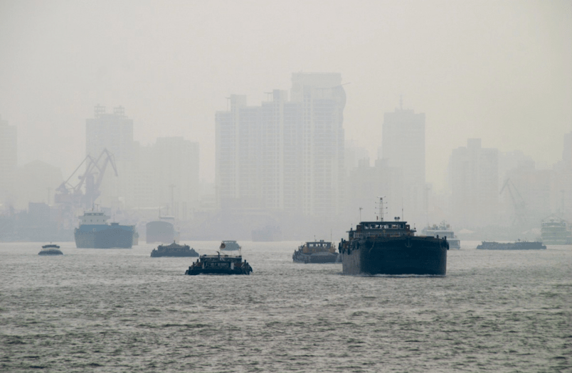 Hong Kong harbor, a major air pollution contributor