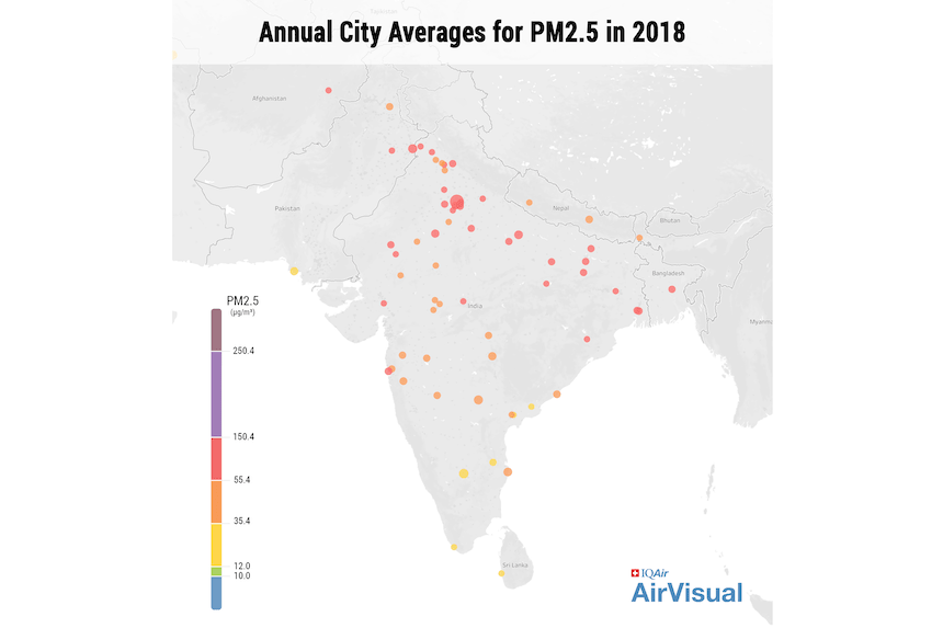 India annual city PM2.5 averages